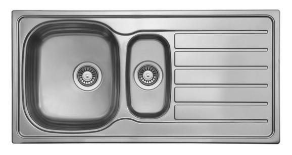 Spüle Dallas 100x50 - Edelstahlfarben, MODERN, Metall (100/17/50cm)