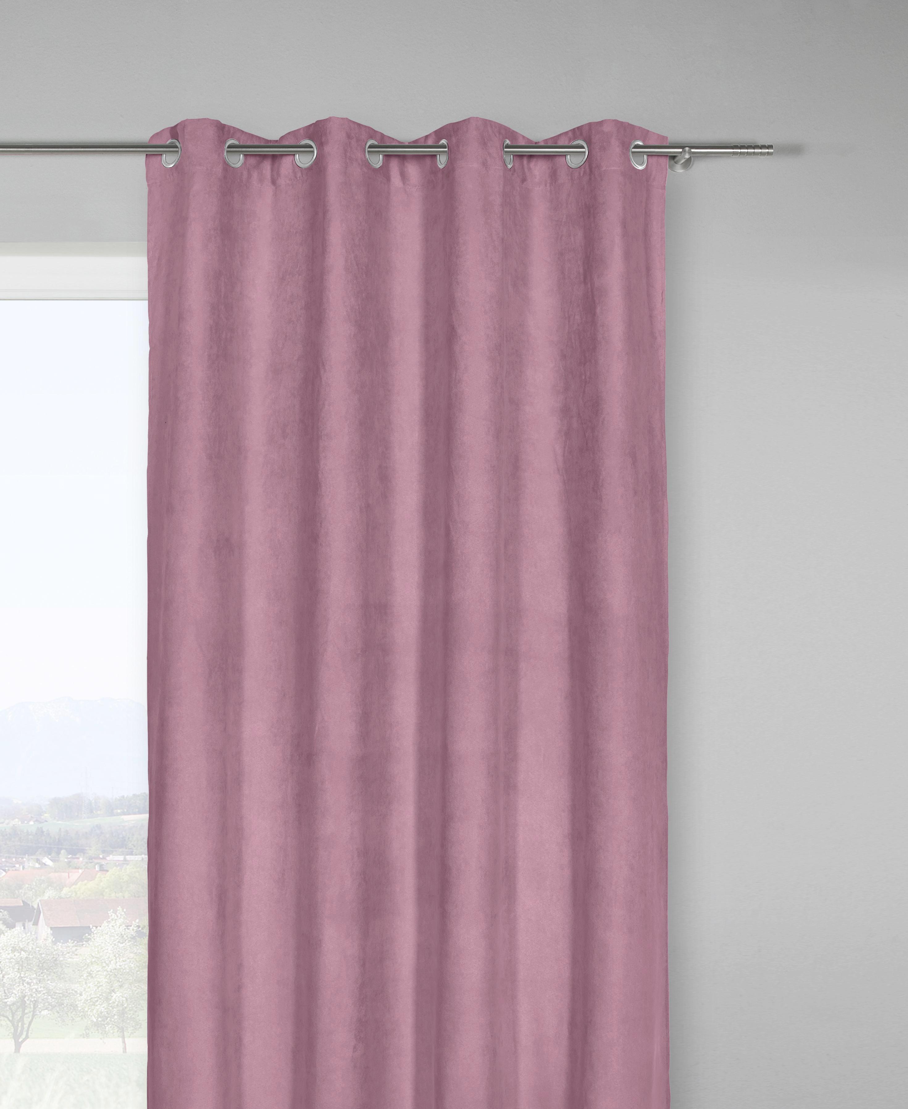 Fertigvorhang Velours, ca. 140x245cm - Dunkelrosa, KONVENTIONELL, Textil (140/245cm) - MÖMAX modern living