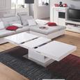 Măsuţă 2 În 1 - alb/culoare inox, Modern, compozit lemnos/metal (133/170/47,5/75/80cm) - Premium Living