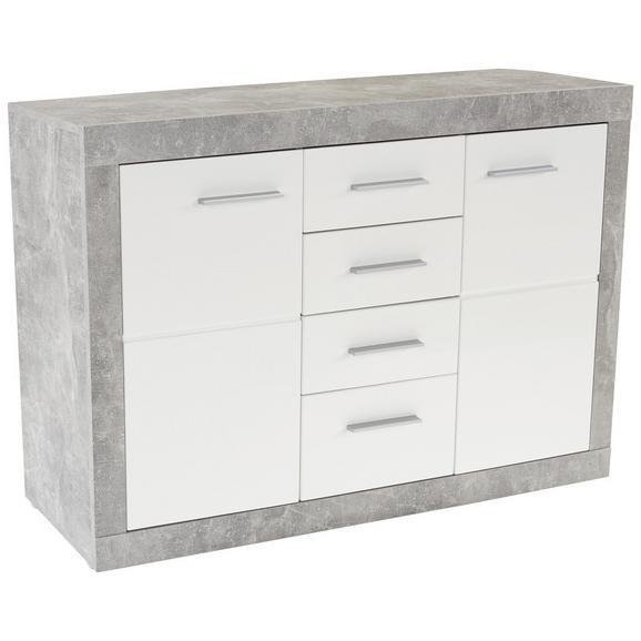 Servantă Malta - alb/culoare aluminiu, Modern, plastic/compozit lemnos (138/86/35cm)