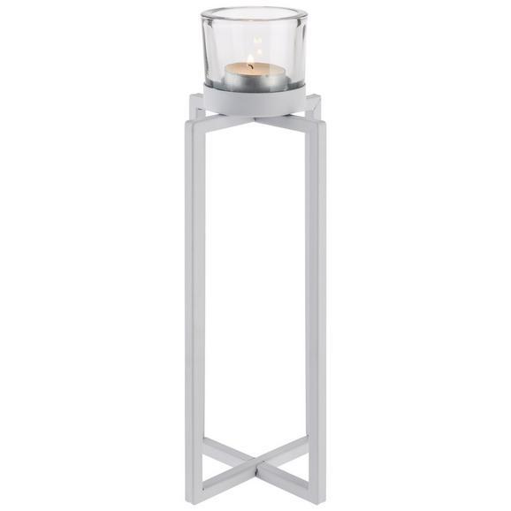 Kerzenhalter Mika in Weiß - Weiß, Basics, Glas/Metall (11/11/29cm)
