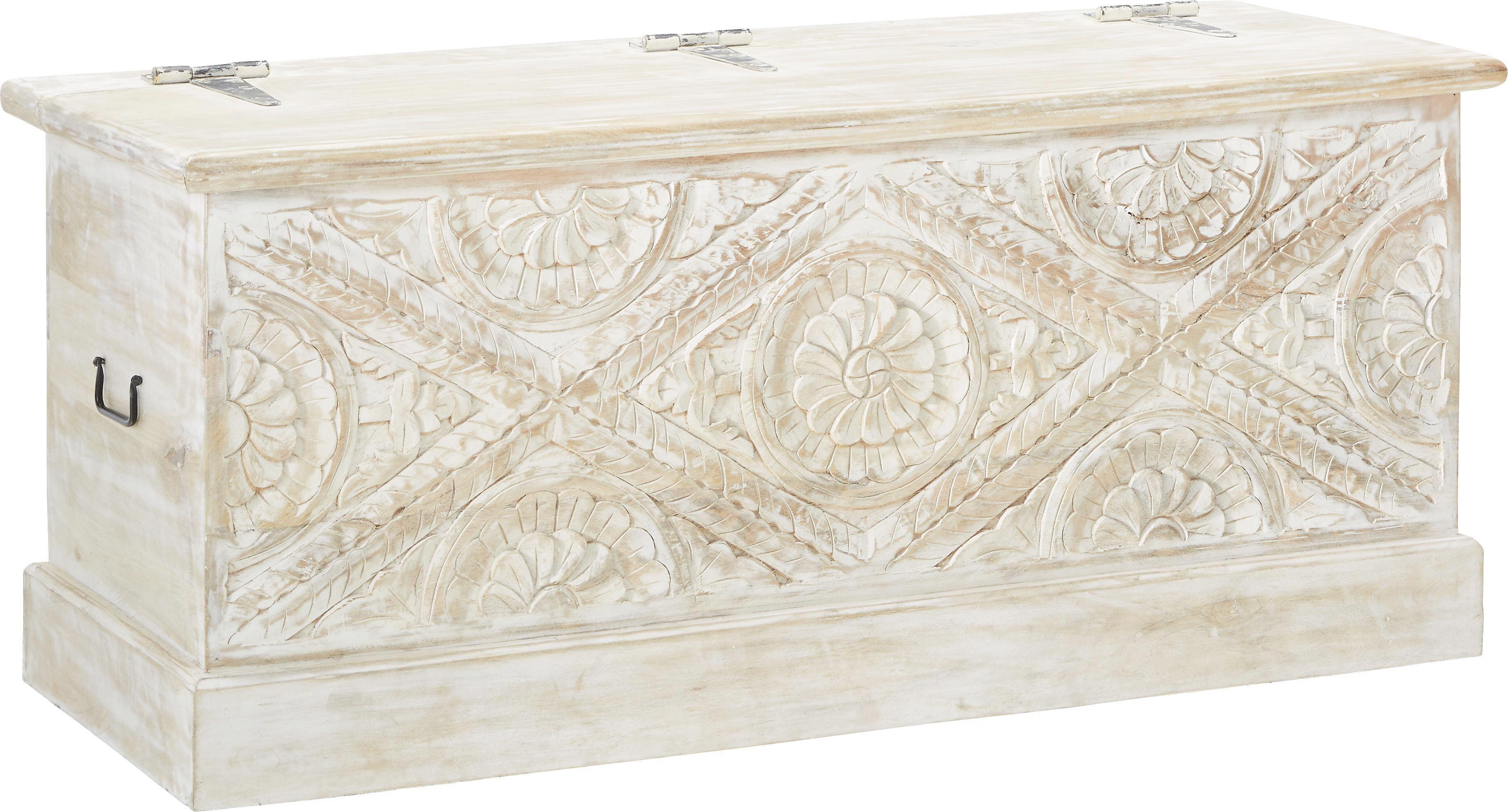 Truhe Weiß Holz - Naturfarben/Weiß, ROMANTIK / LANDHAUS, Holz (118/45/50cm) - MÖMAX modern living