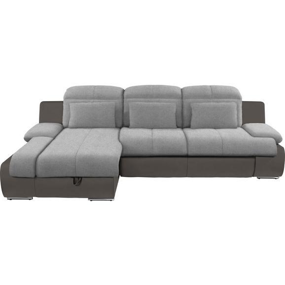 Kutna Garnitura L-oblika Multi 184x260 Cm - siva/tamno siva, Modern, tekstil/metal (184/260cm) - Modern Living