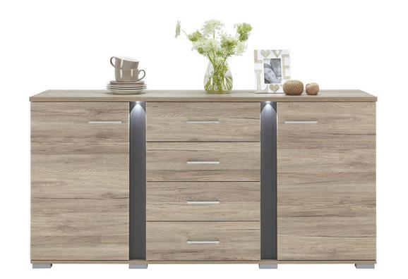 Sideboard Eiche/Schieferfarben - Silberfarben, MODERN, Kunststoff/Metall (170/86/42cm) - Premium Living