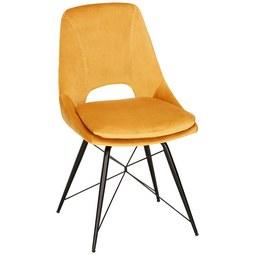 Stuhl in Gelb/Schwarz - Gelb/Schwarz, MODERN, Textil/Metall (55/89/63,5cm) - Modern Living