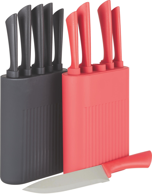 Messerblock Sara in Grau/rot/schwarz - Rot/Silberfarben, MODERN, Kunststoff/Metall (15,5/6,5/23cm) - MÖMAX modern living