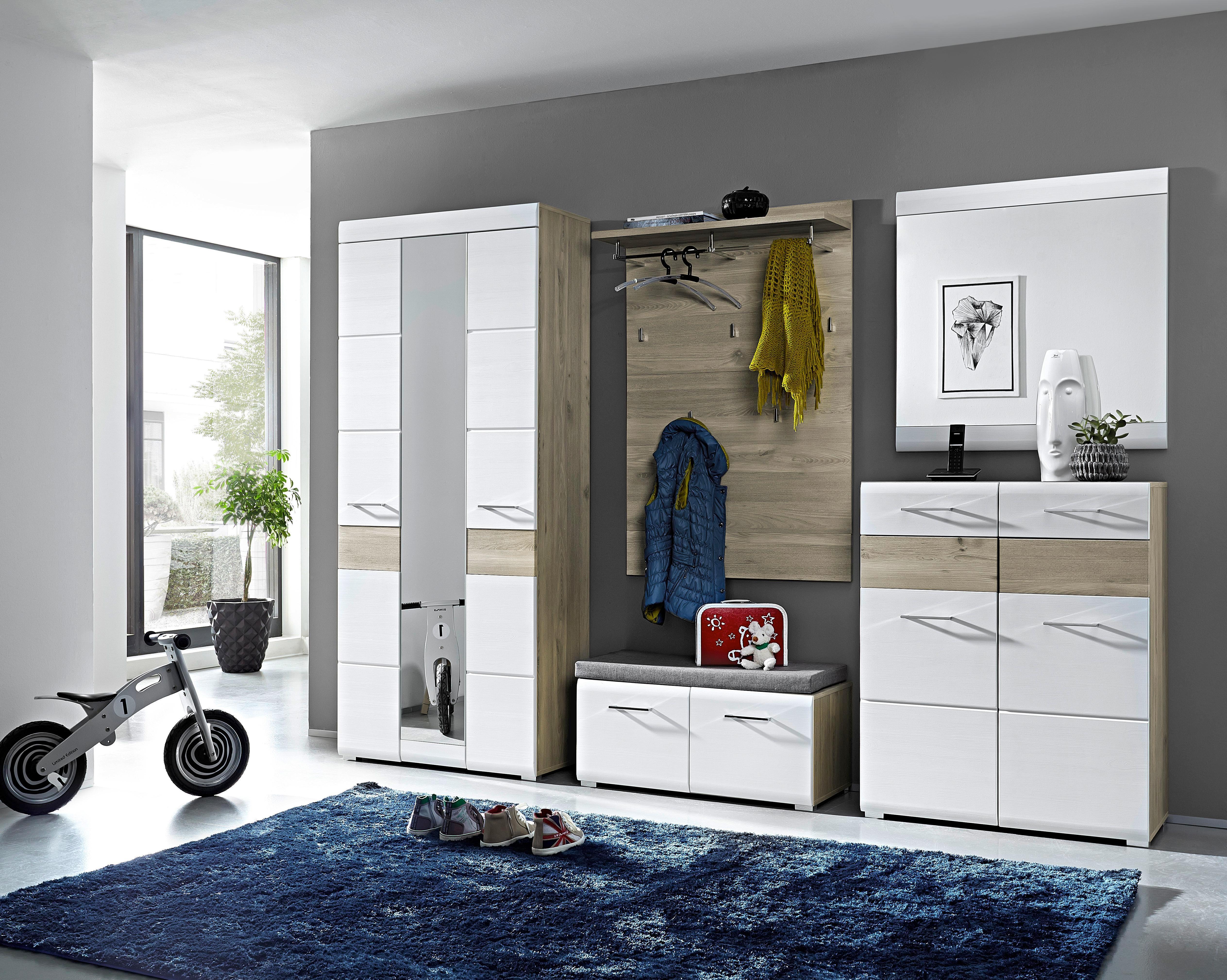 Garderobenschrank in Silbereiche/Weiß - Chromfarben/Weiß, MODERN, Holz/Holzwerkstoff (85/200/40cm) - PREMIUM LIVING