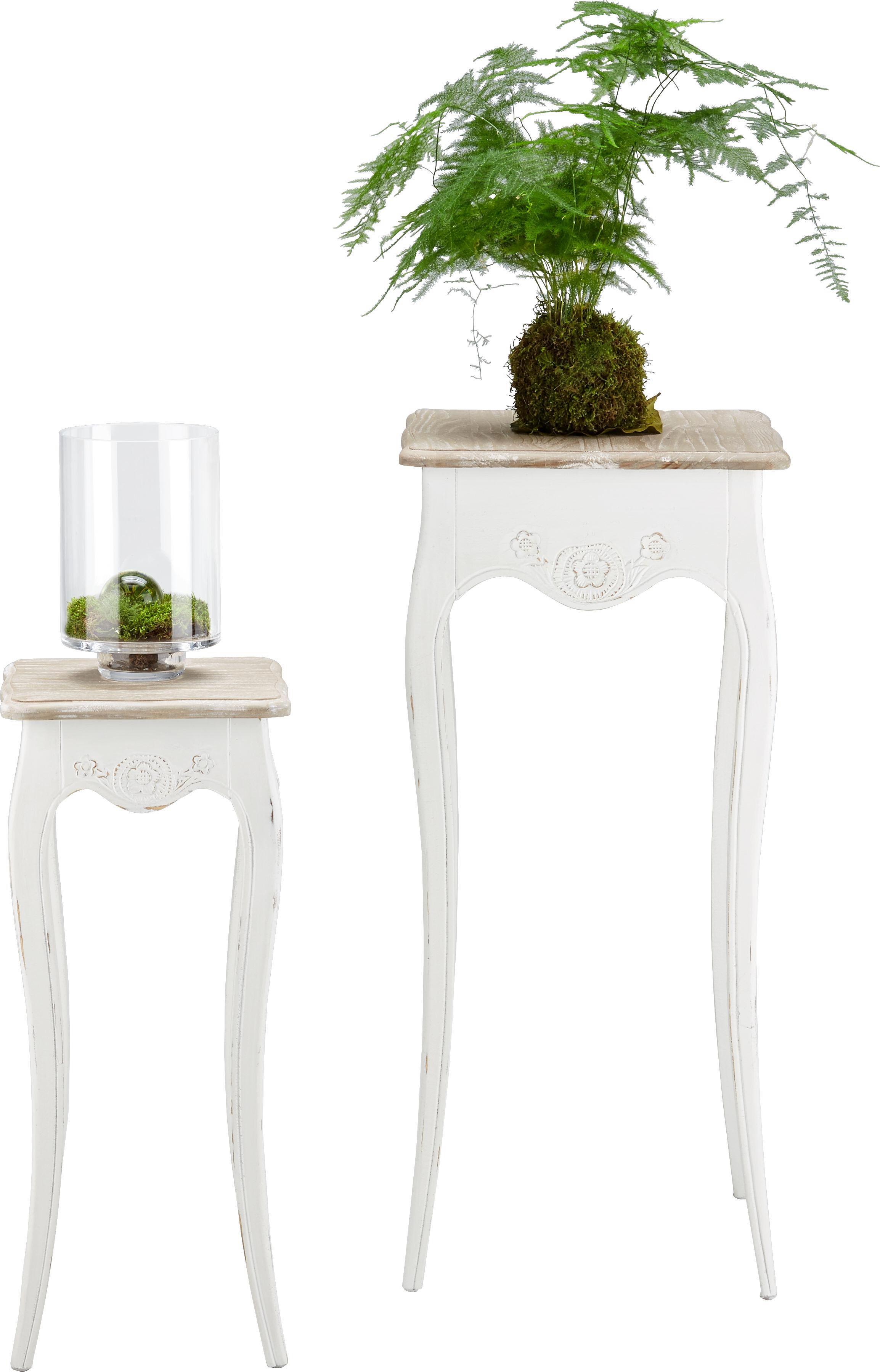 Blumentisch Amelie 2er Set - Pinienfarben, ROMANTIK / LANDHAUS, Holz - PREMIUM LIVING