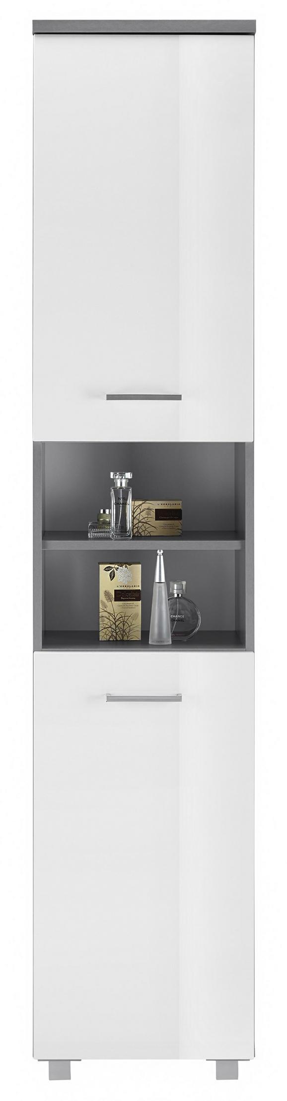Hochschrank Weiß/Grau - Silberfarben/Weiß, MODERN, Holzwerkstoff/Kunststoff (40/194/32cm) - MÖMAX modern living