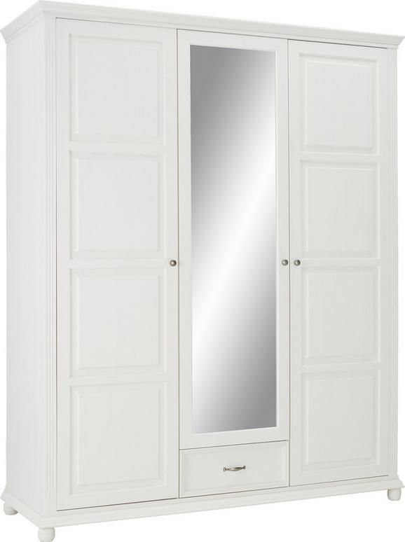 Drehtürenschrank in Weiß mit Spiegel - Weiß, ROMANTIK / LANDHAUS, Holz/Metall (180 220 65cm) - Zandiara