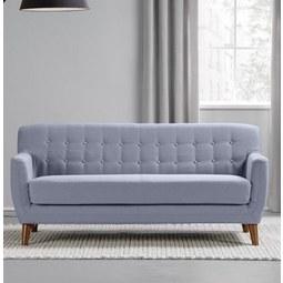 Sofa Xavier Dreisitzer mit Taschenfederkern - Blau/Grau, Holz/Textil (176/81/76cm) - Mömax modern living