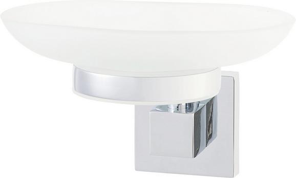 Seifenschale Mare in Chrom aus Glas - Silberfarben/Weiß, Glas/Metall (13/6/12cm) - Mömax modern living
