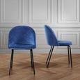 Stuhl Selina - Blau/Schwarz, MODERN, Textil/Metall (48,5 78 54cm) - Mömax modern living