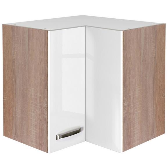 Eckoberschrank Weiß Hochglanz/Eiche - Edelstahlfarben/Eichefarben, MODERN, Holzwerkstoff/Metall (60/54/60cm)