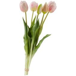 Kunstblume Tulpen in Rosa - Rosa/Grün, ROMANTIK / LANDHAUS, Kunststoff/Metall (39cm)