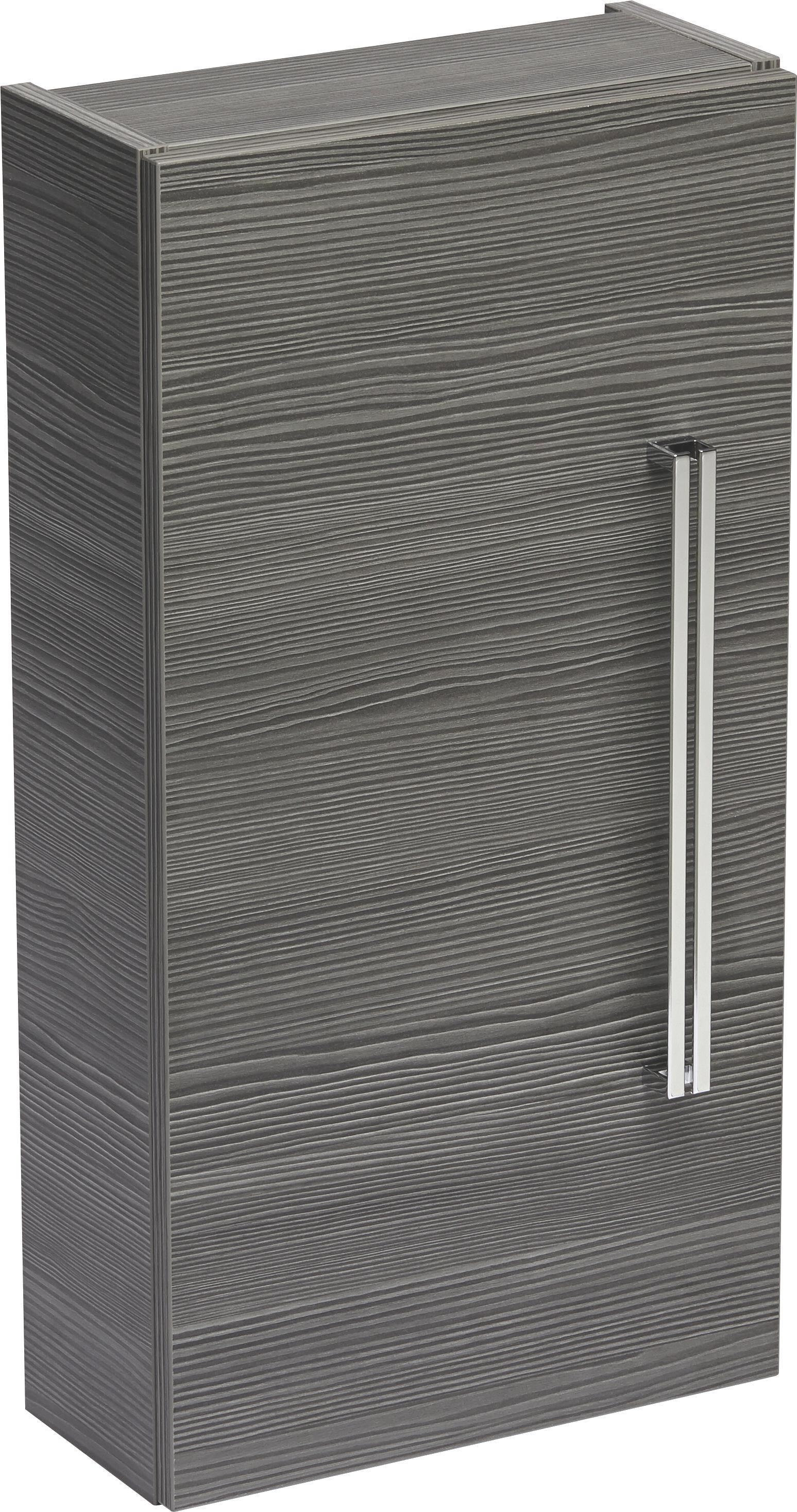 Hängeschrank in Mooreichefarben - Chromfarben/Mooreichefarben, MODERN, Glas/Holzwerkstoff (35/68/16cm) - PREMIUM LIVING