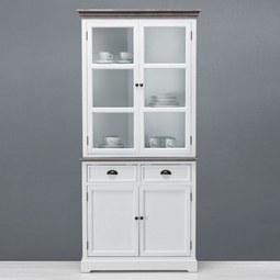 Buffet Cookie - Weiß/Kieferfarben, Glas/Holz (91/194/40cm) - Premium Living