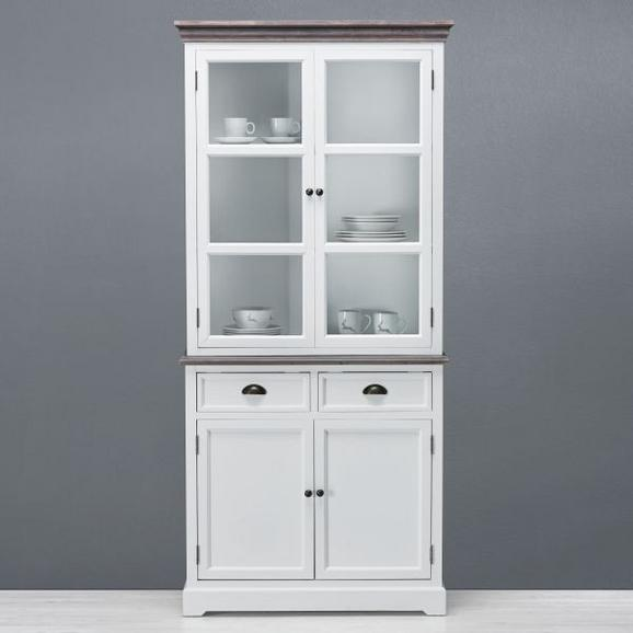 Buffet in Weiß/Kieferfarben 'Cookie' - Weiß/Kieferfarben, Glas/Holz (91/194/40cm) - Bessagi Home