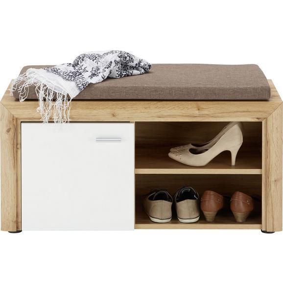Garderobenbank in Weiß/Eichefarben - Eichefarben/Silberfarben, MODERN, Holzwerkstoff/Kunststoff (90/48/37cm) - Premium Living