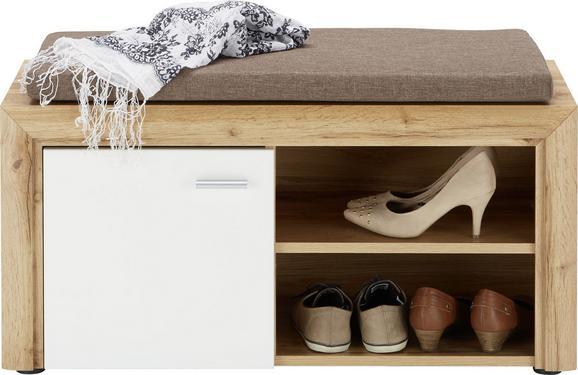 Garderobenbank Weiß/Eichefarben - Eichefarben/Silberfarben, MODERN, Holzwerkstoff/Kunststoff (90/48/37cm) - Premium Living