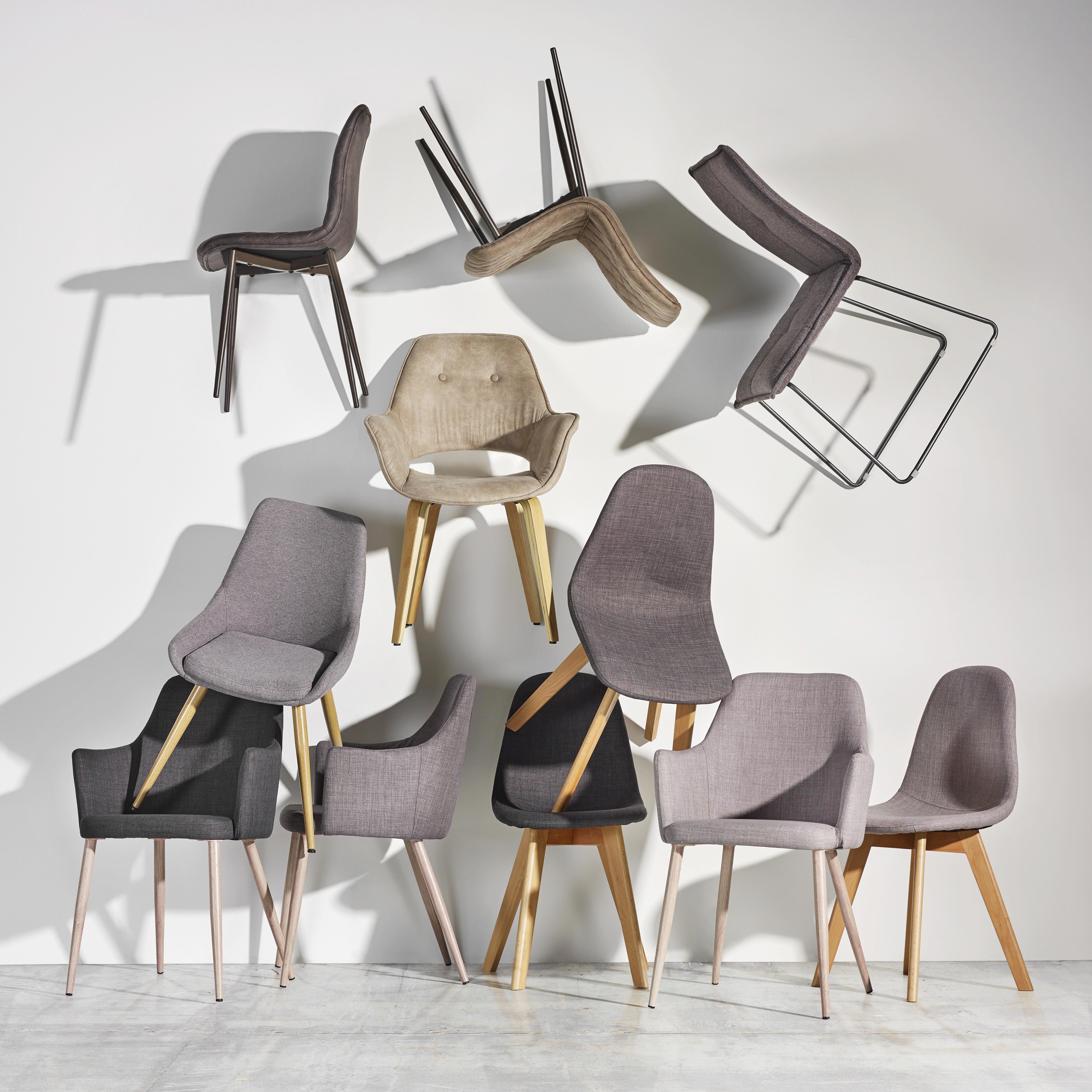 Armlehnstuhl Milenka - Hellgrau, MODERN, Textil/Metall (58/86/60cm) - MODERN LIVING