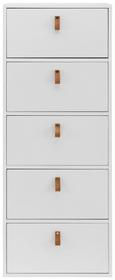 Kommode Mick - Weiß, MODERN, Leder/Holz (46/119,5/40cm) - Modern Living