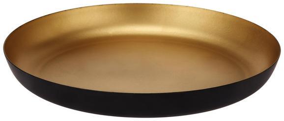Dekoteller Kira Schwarz/Goldfarben - Goldfarben/Schwarz, Metall (20cm) - Mömax modern living