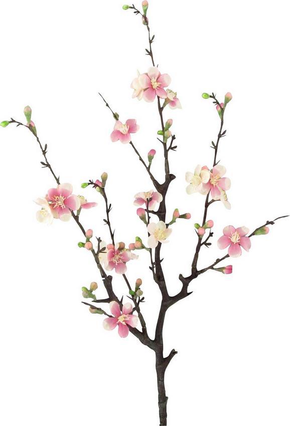 Dekozweig Quittenzweig Cherry in Rosa - Rosa/Braun, Kunststoff/Textil (75cm) - Mömax modern living