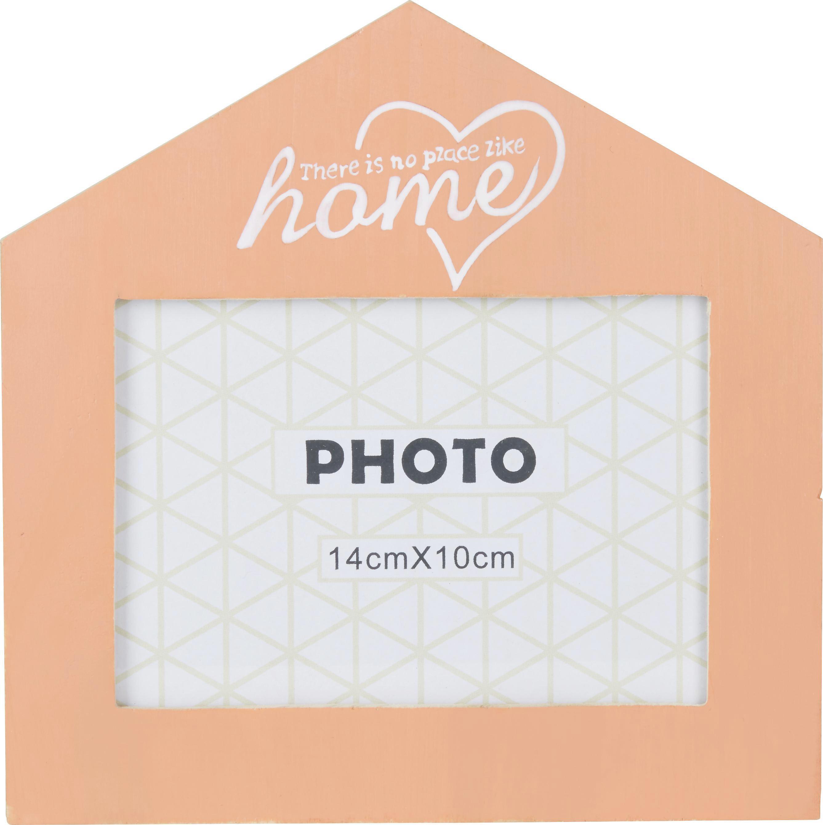 Bilderrahmen Home in Orange, ca. 14x10cm - Klar/Orange, Glas/Holz (18/18cm) - MÖMAX modern living