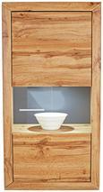 Viseča Vitrina Tizio - siva/hrast, Moderno, steklo/leseni material (63/123,6/41cm) - ZANDIARA