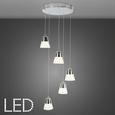 Pendelleuchte Romi mit LED 5-flammig - Chromfarben, MODERN, Kunststoff/Metall (33/33/120cm) - Bessagi Home