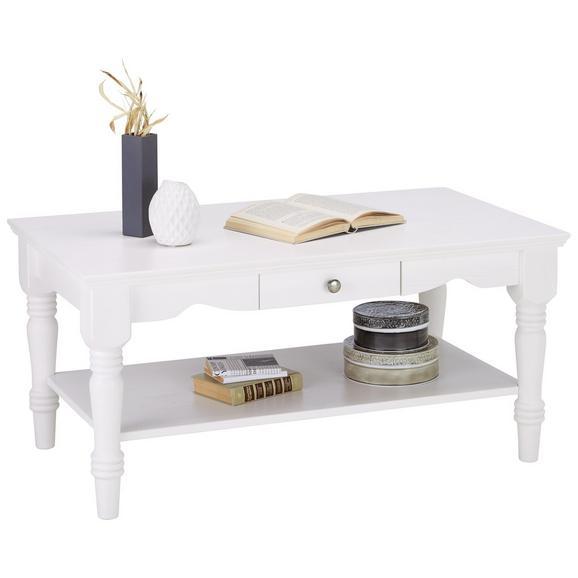 Couchtisch aus Kiefer Massiv - Weiß, ROMANTIK / LANDHAUS, Holz/Metall (105/50/60cm) - Zandiara