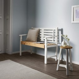 Sitzbank Jimmy - Braun/Weiß, MODERN, Holz (117,5/89/50cm) - Modern Living
