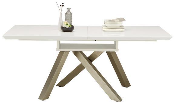 Esstisch Weiß Hochglanz - Weiß/Nickelfarben, MODERN, Holzwerkstoff/Metall (180-240/76/90cm) - MODERN LIVING