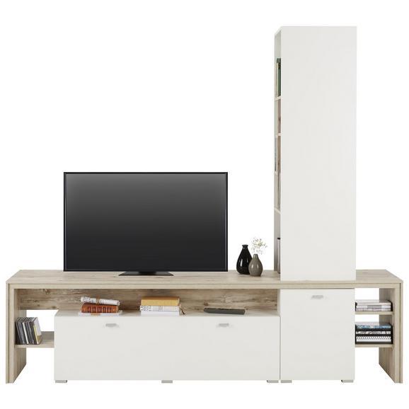 Wohnwand in Weiß/Kieferfarben - Alufarben/Weiß, MODERN, Holzwerkstoff/Kunststoff (210/190/45cm) - Modern Living