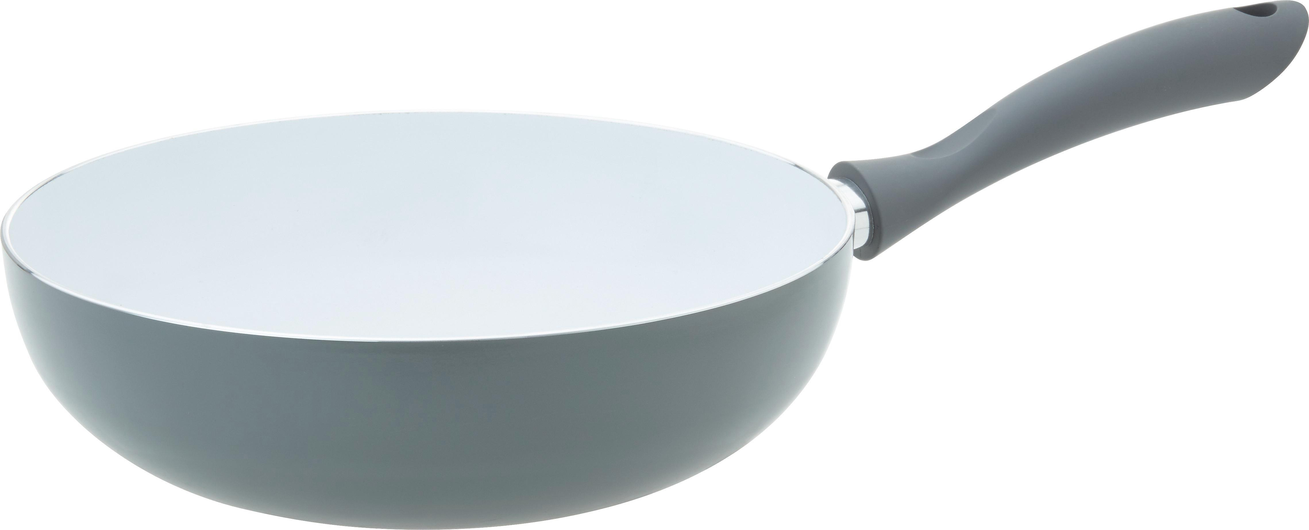 Wok Sonia mit Keramikbeschichtung - Weiß/Grau, MODERN, Keramik/Kunststoff (28cm)