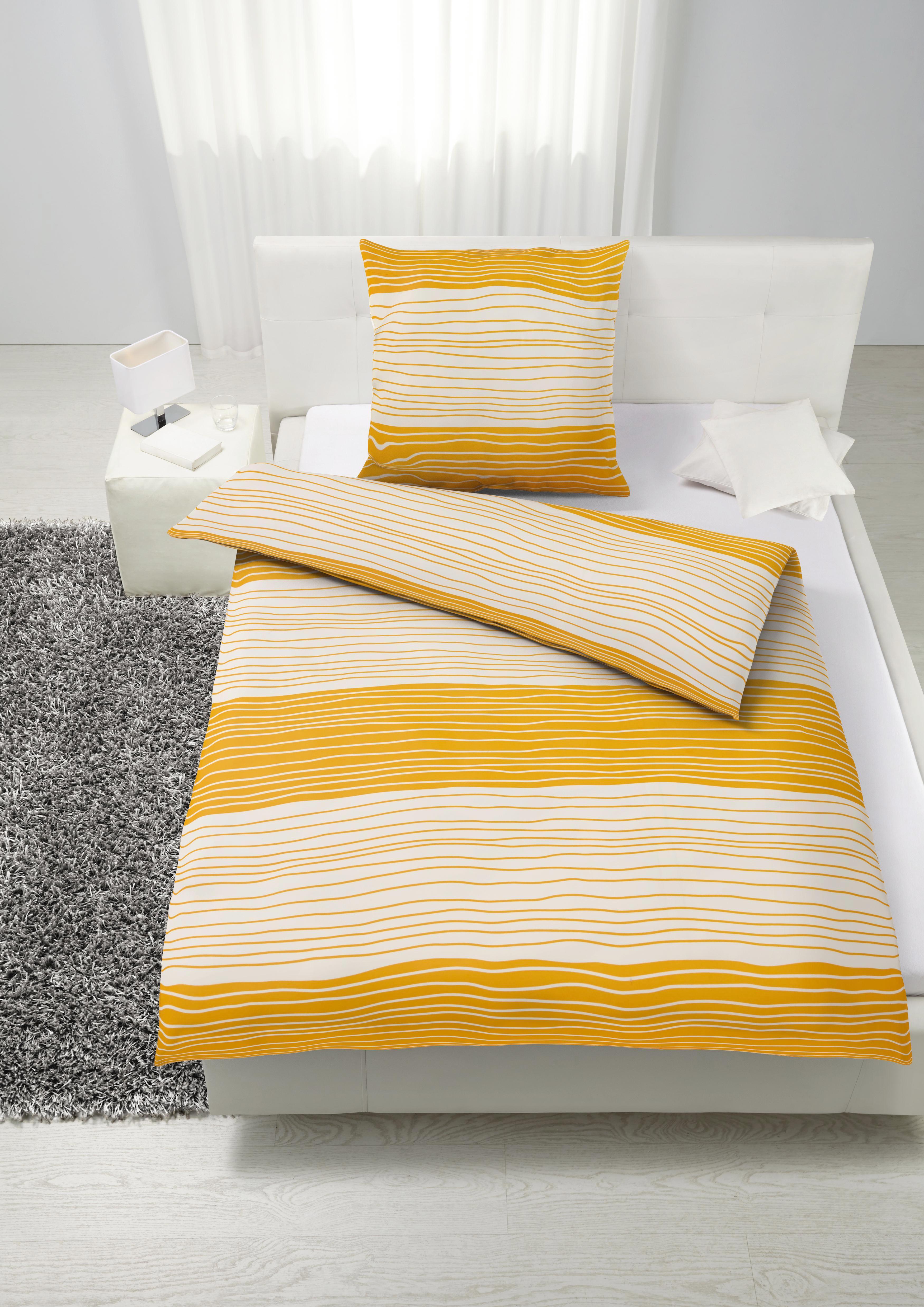 Bettwäsche Vinzenz in Blau/Grün/orange - Blau/Orange, Textil - MÖMAX modern living