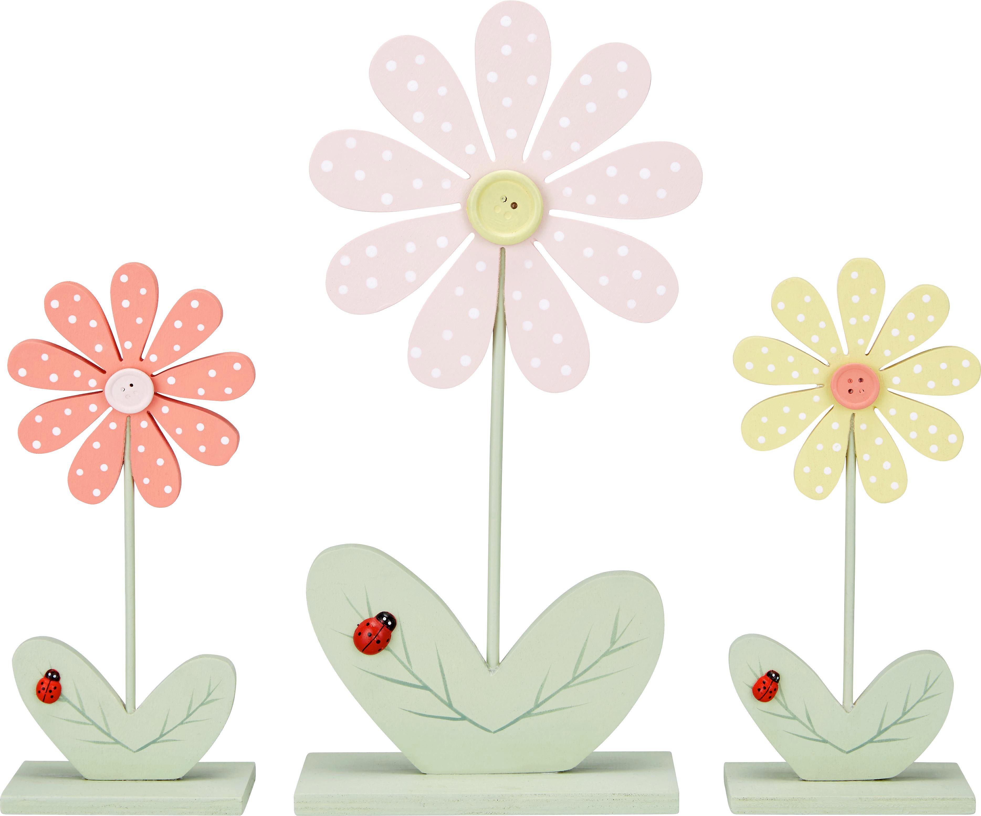 Dekoblume Florentina in versch. Farben - Pink/Gelb, Holz (20cm) - MÖMAX modern living