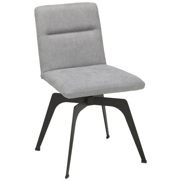 Stuhl in Grau - KONVENTIONELL, Textil/Metall (48,5/87,5/61cm) - Zandiara