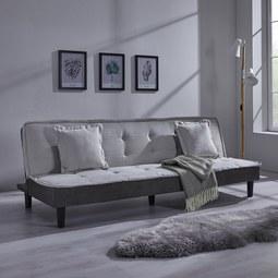 Sofa mit Schlaffunktion in Grau 'Babette' - Hellgrau/Schwarz, MODERN, Holz/Kunststoff (200/70/82cm) - Bessagi Home
