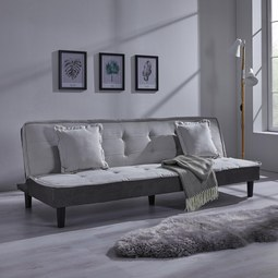 XL Schlafsofa Babette inkl. 2 Kissen - Hellgrau/Schwarz, MODERN, Textil/Metall (200/81,5/70cm) - MÖMAX modern living