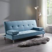 Sofa Esther mit Schlaffunktion - Blau/Chromfarben, MODERN, Holz/Textil (181/82/89cm) - Modern Living