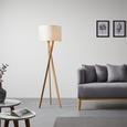 Stehleuchte Larissa - Chromfarben/Eschefarben, Holz/Textil (45/163cm) - Bessagi Home