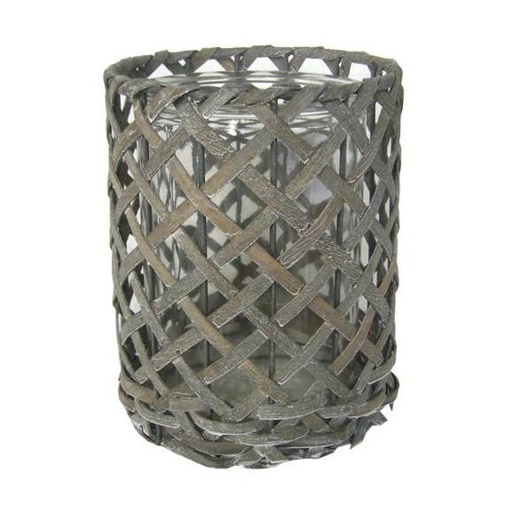 Windlicht antonia in grau aus glas holz online kaufen m max for Windlicht modern