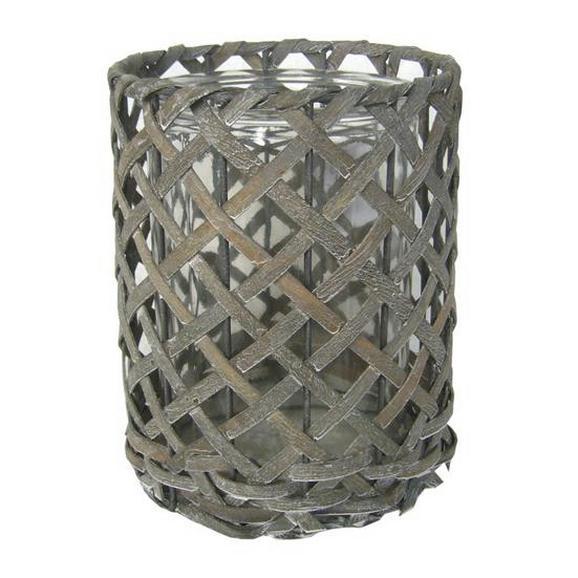 Windlicht Antonia in Grau aus Glas/Holz - Grau, ROMANTIK / LANDHAUS, Glas/Holz (14,5/19cm) - MÖMAX modern living
