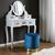 Hocker Julene - Goldfarben/Petrol, MODERN, Textil/Metall (39/40cm) - Modern Living