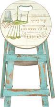 Klapphocker in Blau/Weiß - Türkis/Multicolor, ROMANTIK / LANDHAUS, Holz/Holzwerkstoff (30/30/43cm) - MÖMAX modern living