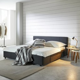 Bett Maila ca.180x200cm inkl. Bettladen - Anthrazit, MODERN, Holz/Textil (211,5/188/85cm) - Mömax modern living