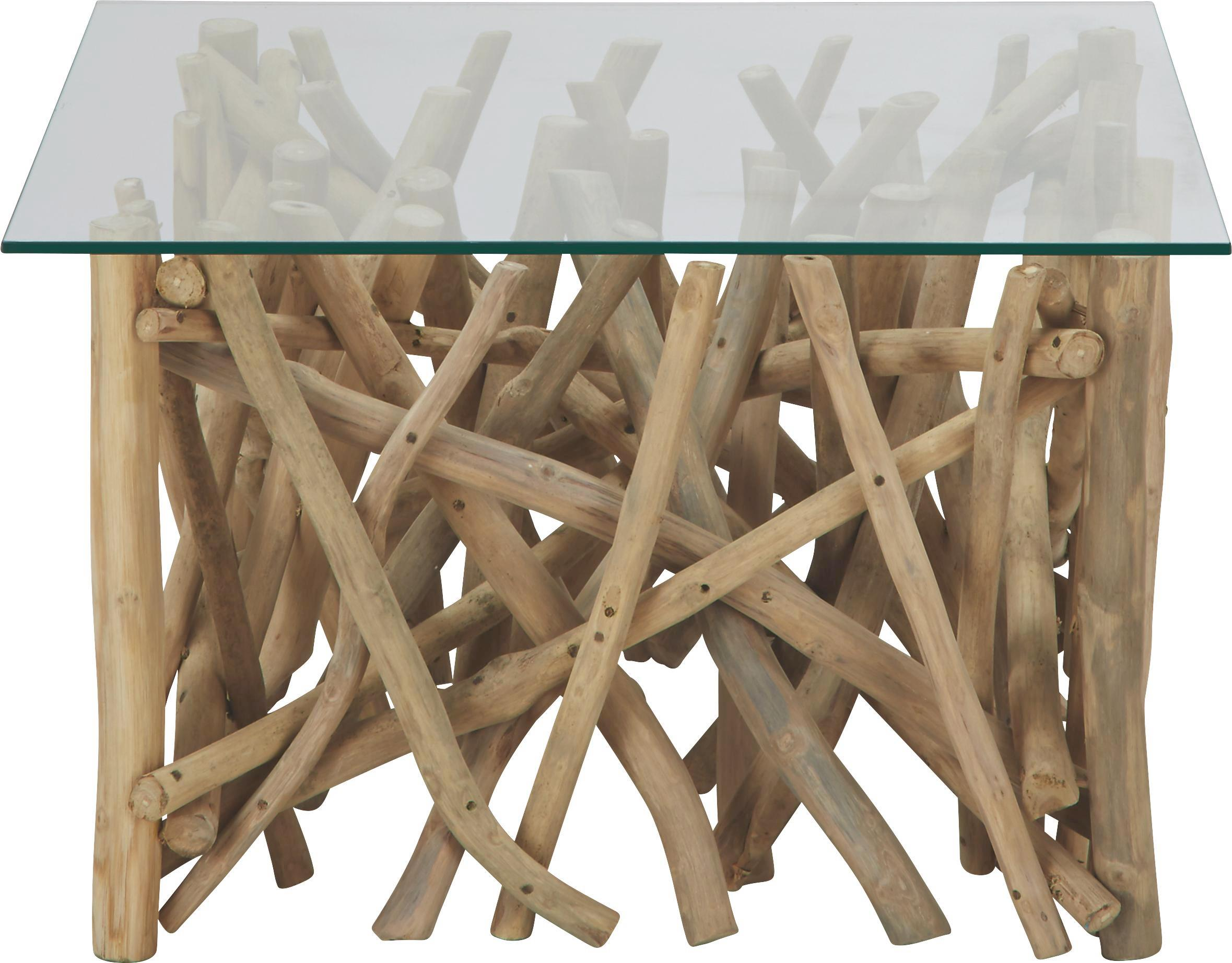 Couchtisch Holz Glas - Weiß/Teakfarben, LIFESTYLE, Glas/Holz (80/42/80cm) - ZANDIARA