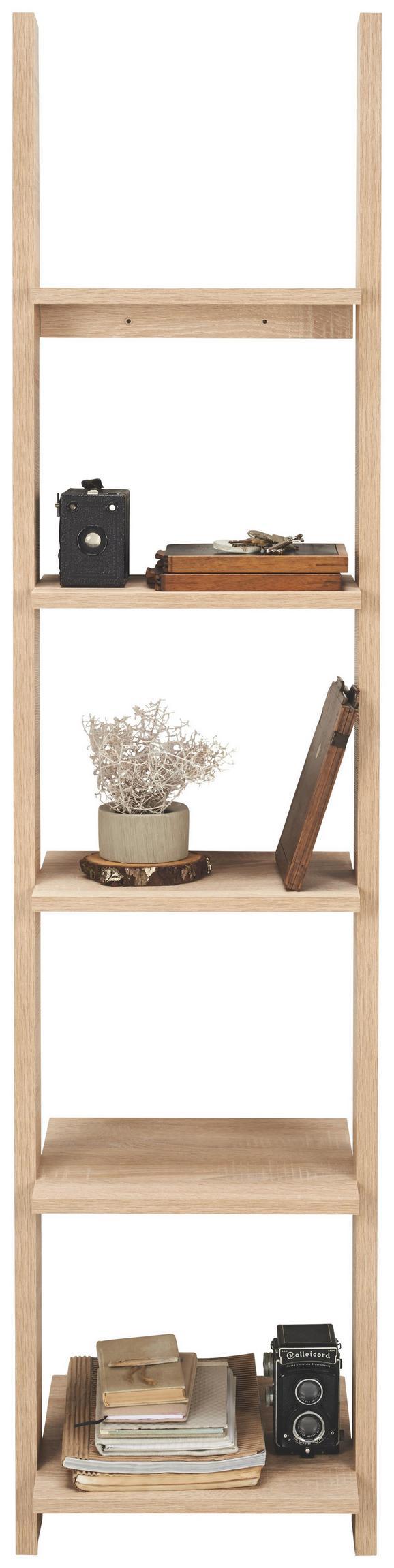 Regal Scala - hrast/bela, Konvencionalno, leseni material/les (41,4/176/34,2cm)